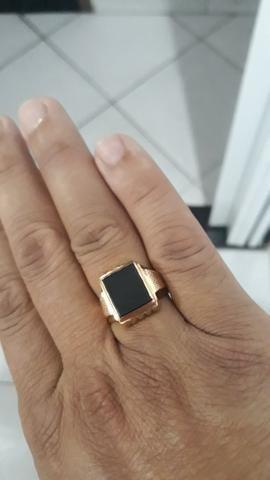 Anel de ouro 750 18k com pedra onix