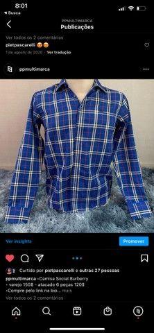 camisa social masculina listrada de grife  - Foto 2