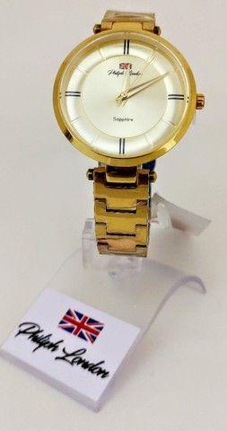 Relógio Feminino Philiph London Vidro Safira Ref: Pl *f Ch  - Foto 3