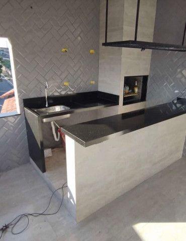 Área de churrasqueira planejada no granito preto São Gabriel - Foto 3