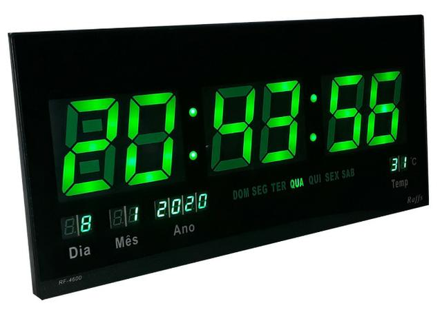 Relógio Led Digital Parede 46cm Painel Calendário Verde