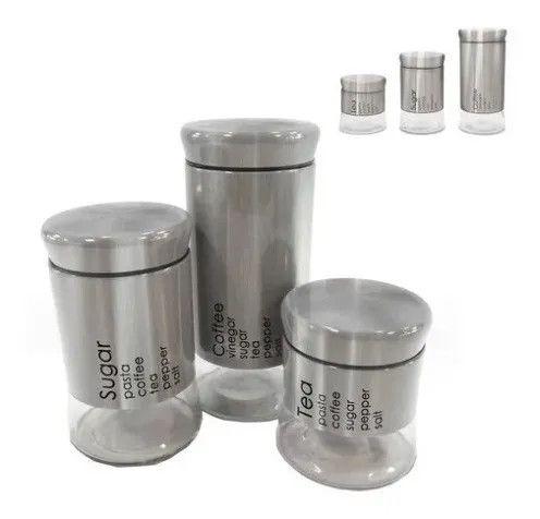 Conjunto com 3 Potes de Vidro com Aço Inox Escovado [Entrega GRÁTIS*]