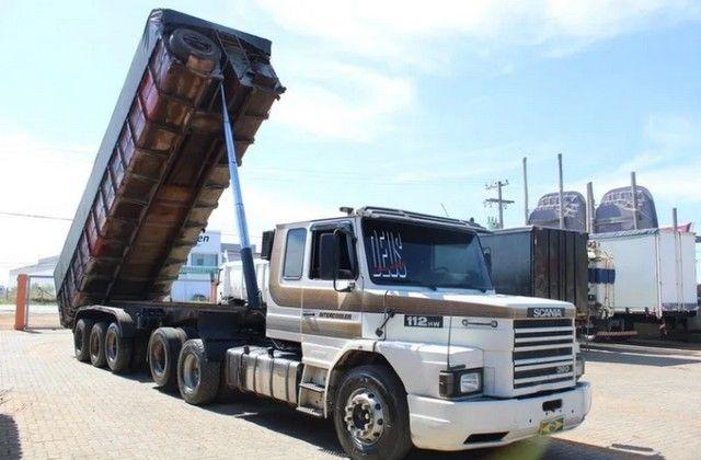 Carreta Caçamba Basculante 27m³ C/ Pneus Scania 112hw 6x2 - - Foto 2
