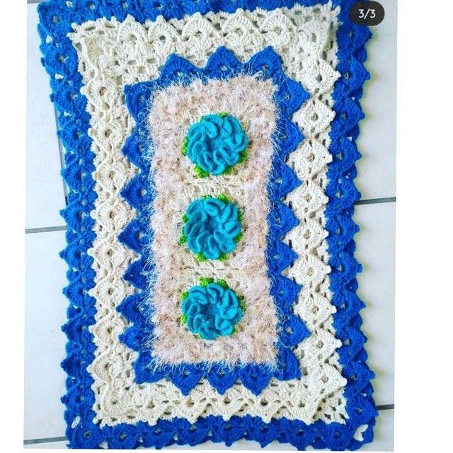 Tapete em crochê azul