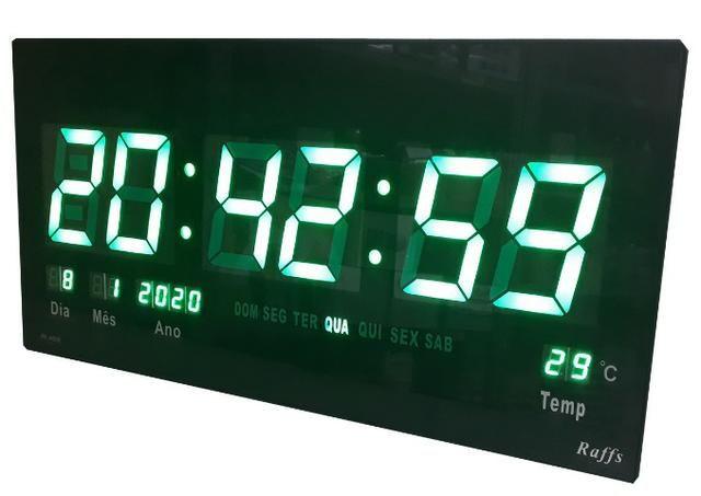 Relógio Led Digital Parede 46cm Painel Calendário Verde - Foto 2