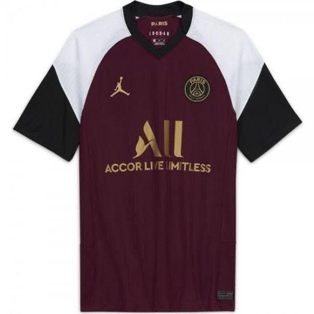 Camisa de time Paris Jordan vinho preta e branca