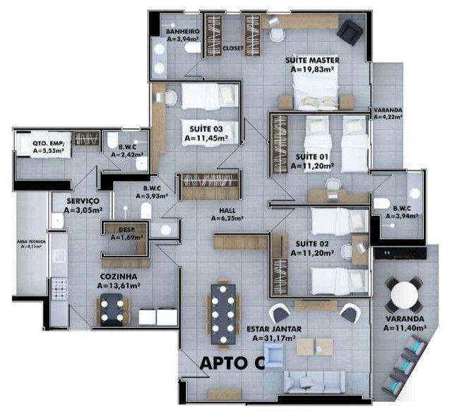 151 Apartamento com 04 quartos no Jóquei Clube (TR65382) MKT - Foto 5