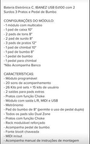 Bateria Eletrônica C. Ibanez Ed100 Com 2 Surdos +prato Extra - Foto 4