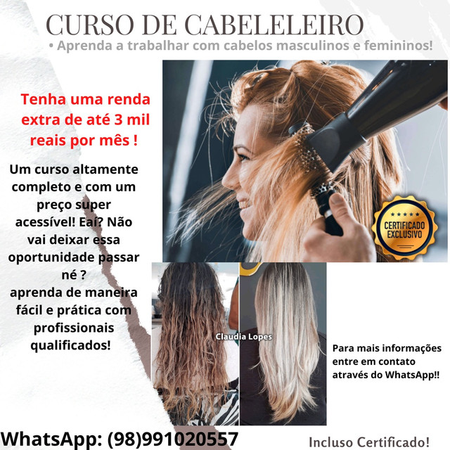 Curso cabeleleiro profissional - Masculino e Femino