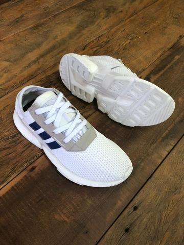 7d1b44d281e Tênis Adidas POD Branco c  Azul - Loja LCS - Roupas e calçados - Dt ...