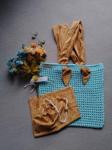 Bolsa de crochê alça de tecido + ecobag - Foto 2