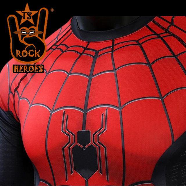 Camisa de Compressão Homem Aranha Longe de Casa Rashguard Manga Longa - Foto 4