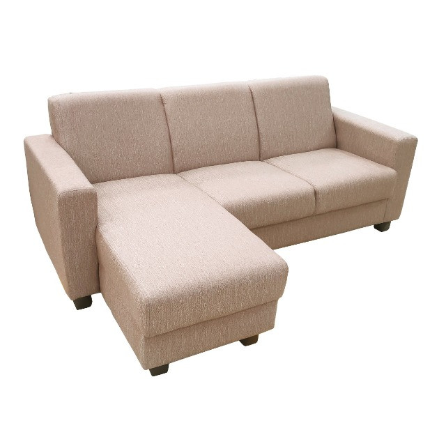 Sofá Chaise 3 lugares tecido bege