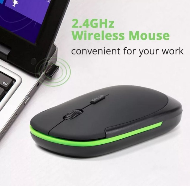 Mouse óptico silencioso sem fio usb 1600 ghz ultra fino