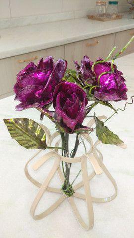 Decoração, Rosa em metal - Foto 4