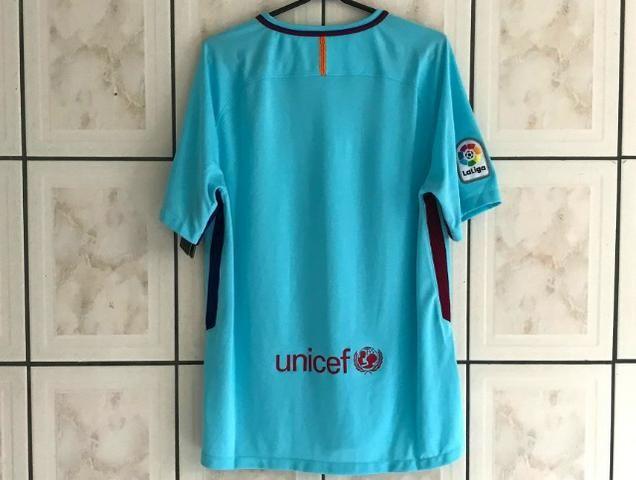 3524ee4c589fd Camisa Barcelona Away 17 18 s n° Torcedor Nike Masculina - Azul Claro -  Original