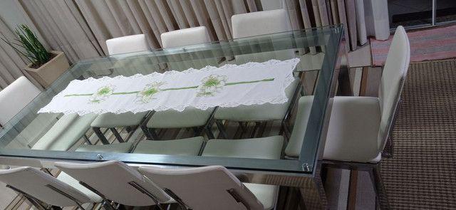 Mesa de vidro com vidro 10mm cromada  - Foto 6