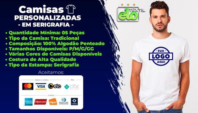 Camisas Personalizadas a Partir de 5 Unidades em Malha 100% Algodão Penteado - Serigrafia