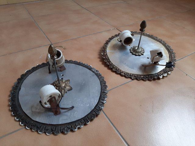 Lustre / base abajur em bronze antigo usado - Foto 6