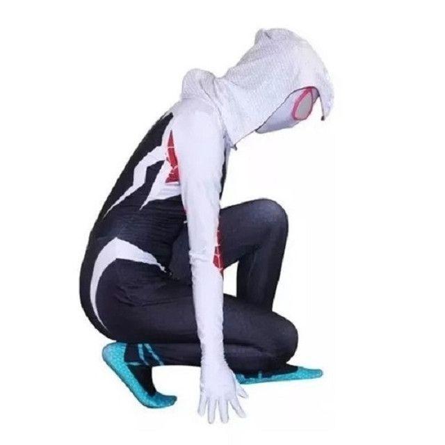 Fantasia Spider Gwen Cosplay Aranhaverso Infantil e Adulto - Foto 5