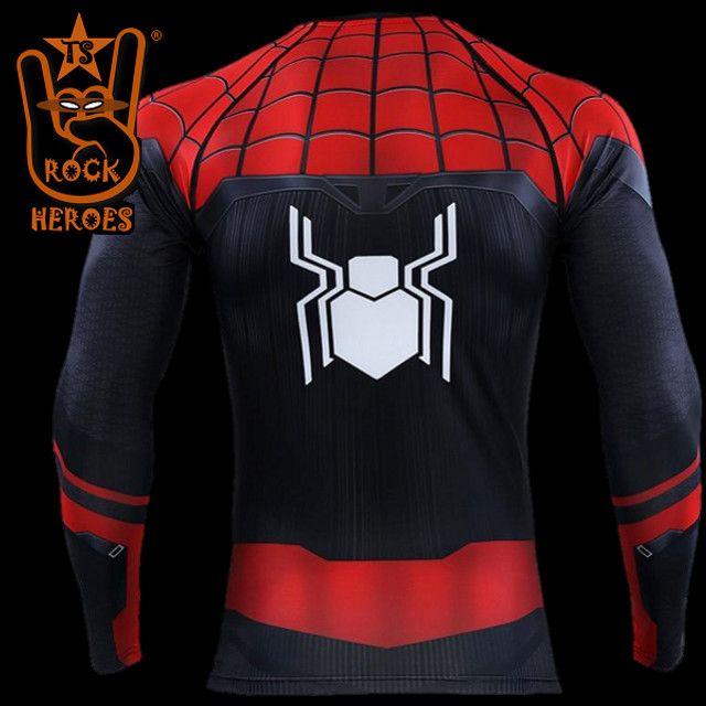 Camisa de Compressão Homem Aranha Longe de Casa Rashguard Manga Longa - Foto 2