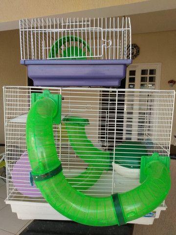 Gaiola com gaiola de transporte para Hamster