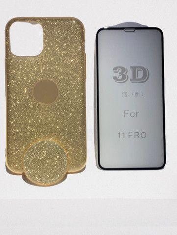 Capa Glitter com Pop Cel Iphone 11 Pro + Película 3D  - Foto 6