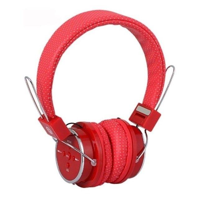 Fone de Ouvido Headphone Wireless Bluetooth, Rádio FM e Cartão de Memória Vermelho