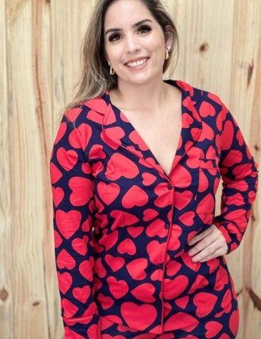 Pijama Americano Feminino - Coração - Foto 2
