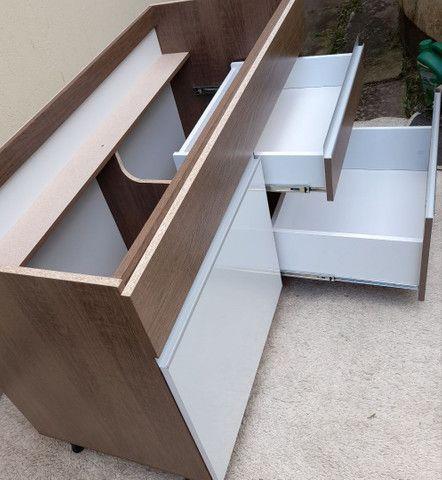 Balcão Novo de pia com 02 gavetas e 01porta cor branca e rustico - Foto 3