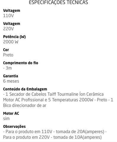 Secador Profissional Taiff Turbo Íon 1900w 2 Bicos Fio3m 220 ... a06a5f39c19d