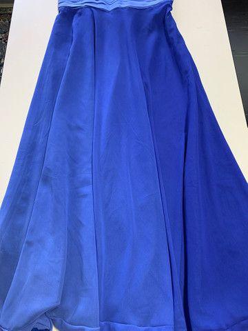 Vestido festa longo crepe azul tamanho 40 - Foto 2