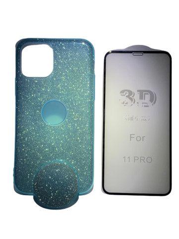 Capa Glitter com Pop Cel Iphone 11 Pro + Película 3D  - Foto 4