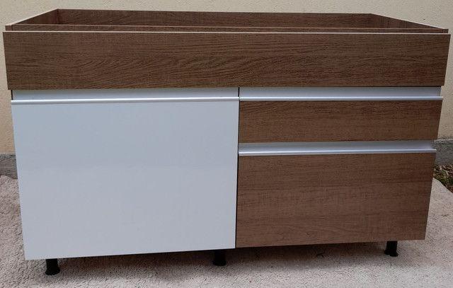 Balcão Novo de pia com 02 gavetas e 01porta cor branca e rustico