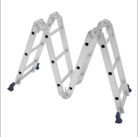 Escada Articulada Dobrável Em Alumínio 12 Degraus Mor - Foto 3