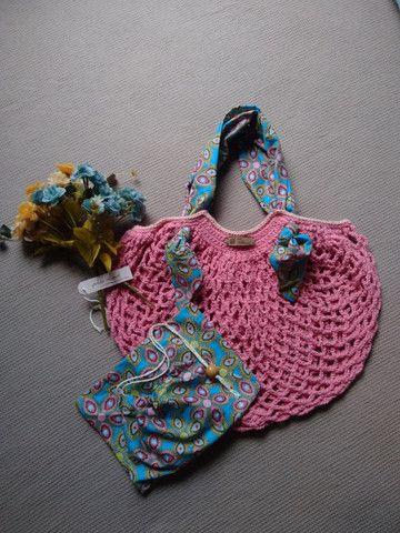 Bolsa de crochê alça de tecido + ecobag - mod03 - Foto 3