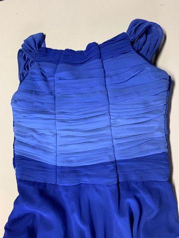 Vestido festa longo crepe azul tamanho 40 - Foto 3