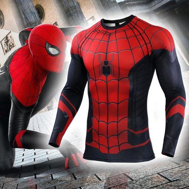 Camisa de Compressão Homem Aranha Longe de Casa Rashguard Manga Longa - Foto 3