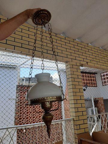 Lustre / base abajur em bronze antigo usado