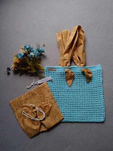 Bolsa de crochê alça de tecido + ecobag - Foto 5
