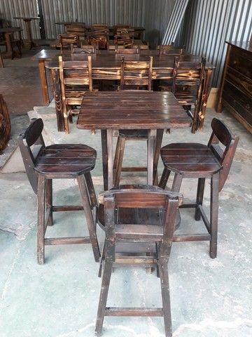 Mesas Bistrô dobravel c/ 4 banquetas c/ ou sem encosto.Eucalipto. Com garantia. Entrego. - Foto 4