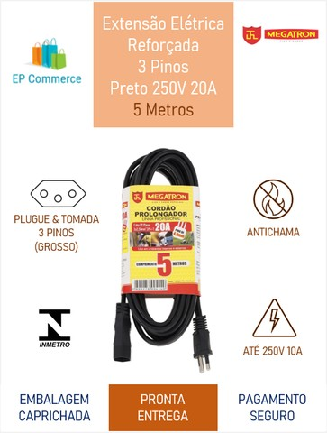 Extensão Elétrica Reforçada 3 Pinos PP 3x2.50mm^2 20A 5 Metros Preto Megatron - Foto 2