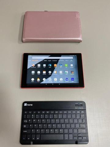 Amazon Fire HD 10 Tablet 10.1? com Alexa Hands-free 1080p 32GB + Fintie Teclado Case - Foto 2