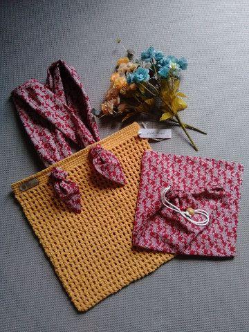 Bolsa de crochê alça de tecido + ecobag - Foto 3