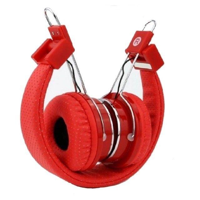 Fone de Ouvido Headphone Wireless Bluetooth, Rádio FM e Cartão de Memória Vermelho - Foto 2
