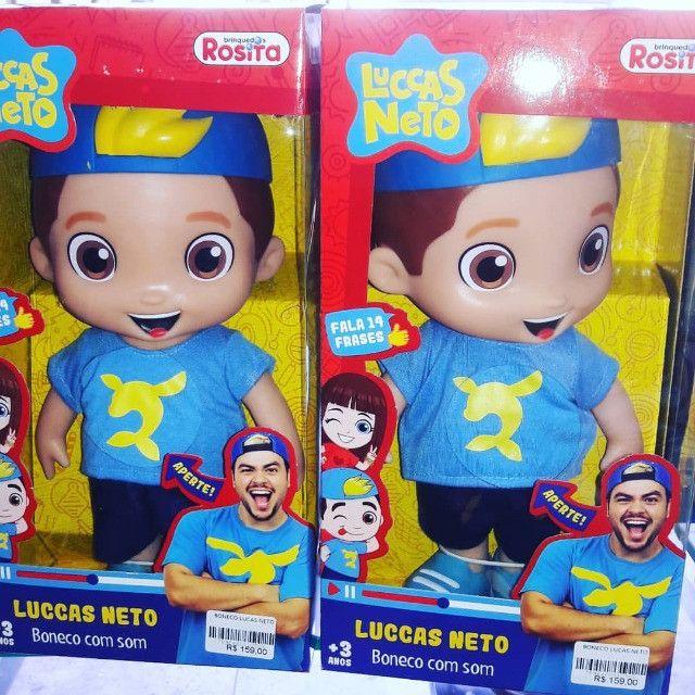 Super Boneco Com Som Lucas Neto Azul Fala Varias Frases