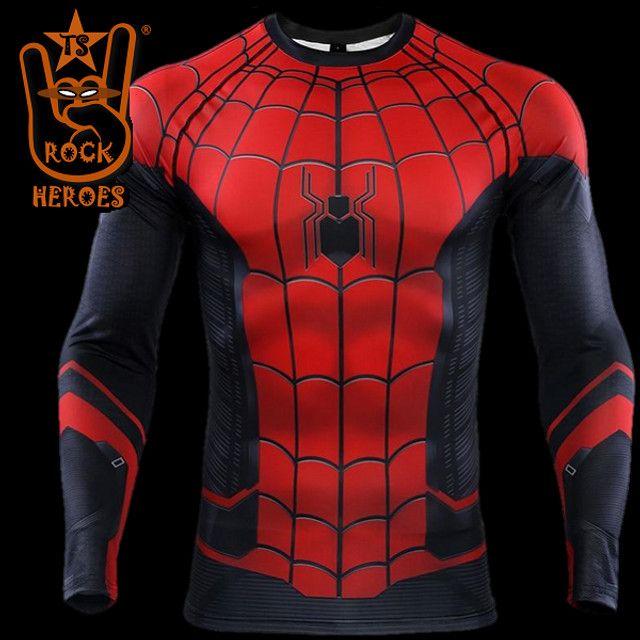 Camisa de Compressão Homem Aranha Longe de Casa Rashguard Manga Longa