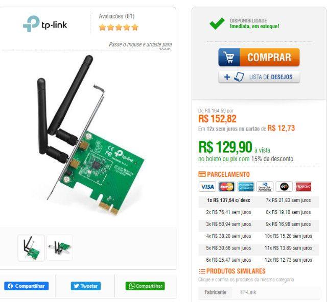 Adaptador de Rede Pci Express com 2 Antenas TP-Link 100 MBps - Foto 3