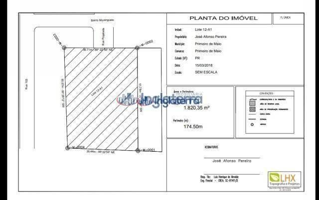 Terreno à venda, 1820 m² por R$ 180.000,00 - Centro - Primeiro de Maio/PR - Foto 4