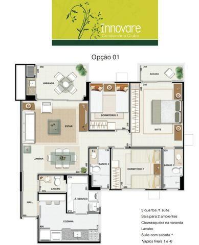 Apartamento Innovare Sacada Com Churrasqueira 02 Vagas De Garagens - Foto 20